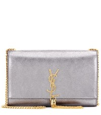 Saint Laurent Medium Monogram Metallic Shoulder Bag Silver