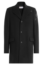 Red Valentino Wool Coat With Sequin Embellishment Black