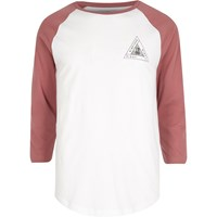 River Island Mens White Triangle Print Raglan T Shirt