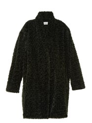 Etoile Isabel Marant Adams Faux Fur Coat Dark Green