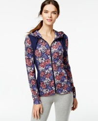 Lucky Lotus By Lucky Brand Floral Print Zip Front Hoodie