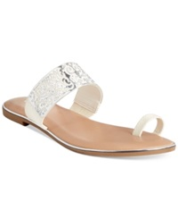 Bar Iii Vienna Flat Toe Thong Sandals Women's Shoes White Silver