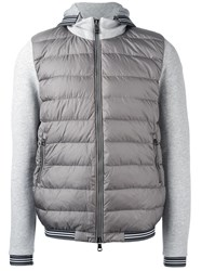 Moncler Padded Front Zip Up Hoodie Grey