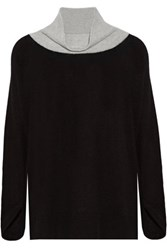 Duffy Two Tone Cashmere Turtleneck Sweater Black
