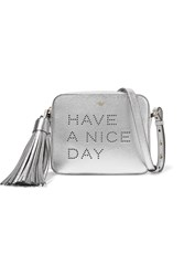 Anya Hindmarch Have A Nice Day Perforated Metallic Textured Leather Shoulder Bag