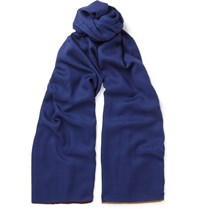 Loro Piana Contrast Trimmed Cashmere And Silk Blend Scarf Navy
