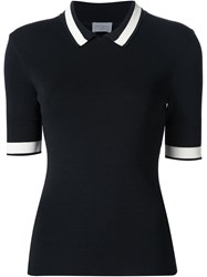 Grey Jason Wu Ribbed Polo Top Black