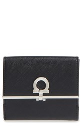 Salvatore Ferragamo Women's Saffiano Calfskin Leather Wallet Black