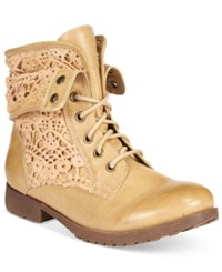 Ziginy Rock And Candy Spraypaint Cuffed Lace Combat Booties Women's Shoes Tan Crochet