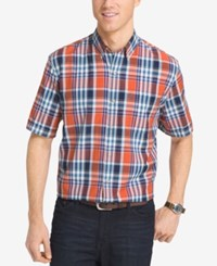 Izod Men's Plaid Short Sleeve Shirt Burnt Orange Multi