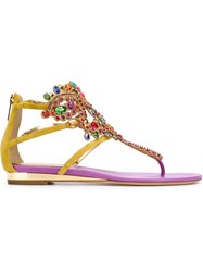 Rene Caovilla Crystal Embellished Thong Sandals Multicolour