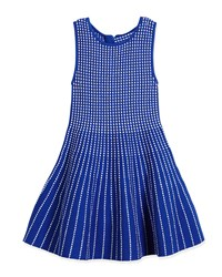 Milly Minis Dot Striped Knit Fit And Flare Dress Blue