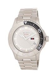Gucci Men's 126Xl White Face Stainless Steel Bracelet Watch Metallic