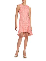 Bcbgmaxazria Chrystal Hi Lo Lace Dress Pink Coral