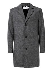 Topman Grey Salt And Pepper Wool Mix Overcoat Mid Grey