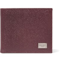 Dolce And Gabbana Pebble Grain Leather Billfold Wallet Burgundy