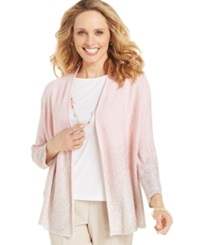 Alfred Dunner Petite Sequin Knit Layered Cardigan Pink