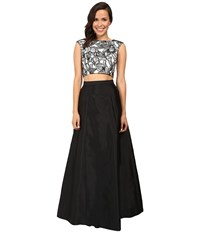 Aidan Mattox Two Piece Embroidered Cap Sleeve Top W A Line Taffetta Skirt Black Ivory Women's Dress