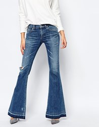 A Gold E Madison Retro Distressed Flared Jeans With Raw Hem Blue