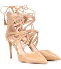 Nicholas Kirkwood Nara Leather Lace Up Sandals Beige