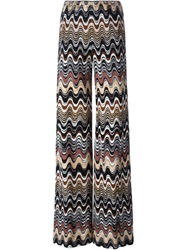 Missoni Signature Zig Zag Knit Wide Leg Trousers Nude And Neutrals