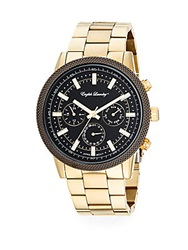 English Laundry Goldtone Stainless Steel Chronograph Bracelet Watch Gold Black