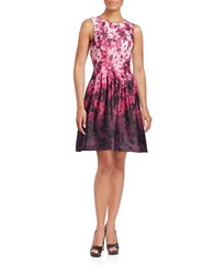 Vince Camuto Fit And Flare Floral Dress Pink Multi