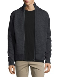 Vince Full Zip Wool Cashmere Cardigan Black