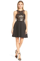 Faviana Sequin Neoprene Fit And Flare Dress Black Gold