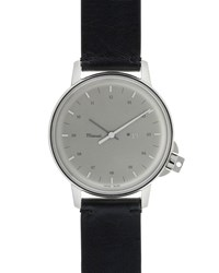Miansai M12 Stainless Steel Watch With Leather Strap Black