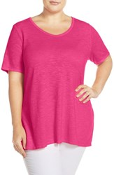 Eileen Fisher Plus Size Women's Scoop Neck Hemp And Organic Cotton Tee Rhubarb