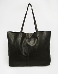 Asos Unlined Leather Shopper Bag With Tie Detail Black