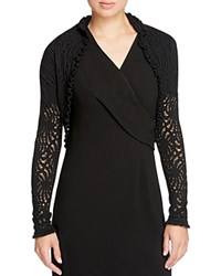 Elie Tahari Carey Merino Wool Pointelle Shrug Black