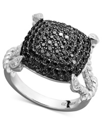 Macy's Sterling Silver Ring Black And White Diamond Square Rope Ring 1 Ct. T.W.
