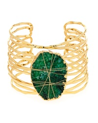 Lydell Nyc Wire Wrapped Druzy Cuff Bracelet Green
