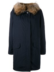 Yves Salomon Fur Lined Parka Blue
