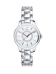 Christian Dior Dior Viii Montaigne Diamond Mother Of Pearl And Stainless Steel Bracelet Watch Silver Pink