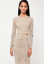 Missguided Silver Embellished Crop Top