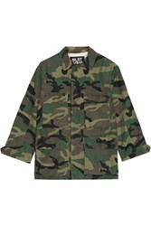 Nlst Camouflage Print Cotton Blend Jacket Forest Green