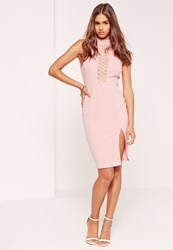 Missguided High Neck Mesh Insert Midi Dress Pink