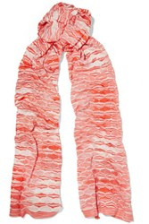 Missoni Crochet Knit Scarf Coral