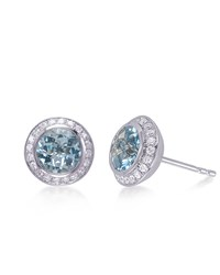 Aquamarine And Diamond Stud Earrings Frederic Sage Green