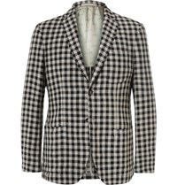Massimo Alba Slim Fit Gingham Linen Blazer Black