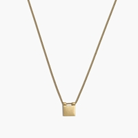 Engravable Square Necklace Raw Brass
