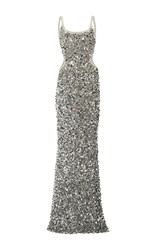 Elizabeth Kennedy Scoop Neck Scrambled Sequin And Paillette Gown Silver
