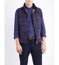 Brunello Cucinelli Quilted Suede Gilet Blue