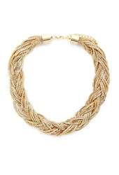 Forever 21 Braided Box Chain Necklace Gold