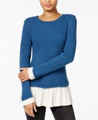 Kensie Warm Touch Ruffled Contrast Sweater Deep Ocean Combo
