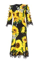 Dolce And Gabbana Sunflower Cady Short Sleeve Dress Print