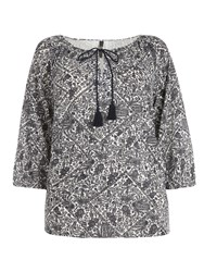 Evans Black And White Printed Gypsy Top